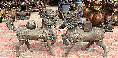 "19"" Chinese Bronze Treasure bowl kylin Kirin Chi-Lin Kilin Qilin unicorn Pair"