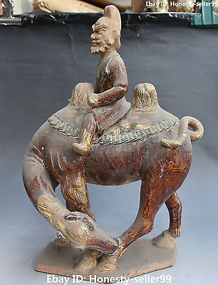 "16"" Old Collect Chinese Tang Sancai Porcelain Ancient Camel Llama People Statue"