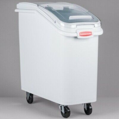 New Rubbermaid Prosave Ingredient Bin Mobile With Scoop - White 120L