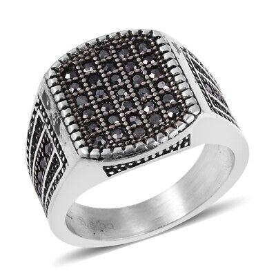 Grey Crystal Black Oxidized Mens Ring Size 10.5 Cttw 0.5