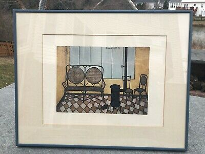 Cool Vintage Bernard Buffet Artist Signed Framed Lithograph Print Potbelly Stove Home Interior And Landscaping Palasignezvosmurscom