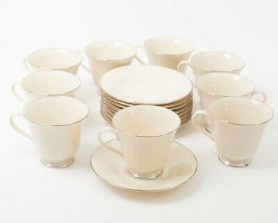 18-pc Lenox Maywood Pattern Bone China Footed Cups & Saucers Cream Platinum Trim