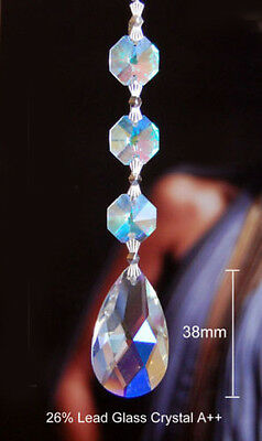 Set of 5 Chandelier Prisms Pedants - 38 mm AB Rainbow Teardrop Glass Crystal