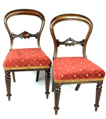 A Pair of Antique Mahogany Balloon Back Chairs - FREE Shipping [5136]