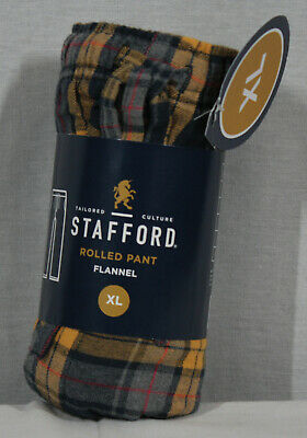 Stafford Mens Navy Blue & Gold Plaid Pajama Pants Size Xl New With Tags