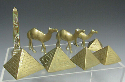 Group of Egypt Egyptian STYLE Brass Dromedaries Pyramids and a Needle ca. 20th c