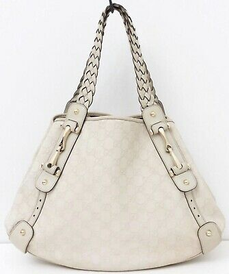 ed9534b7d03 Gucci GG Monogram Guccissima Pelham Horsebit Hobo Shoulder Handbag Bag Off  White