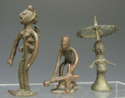 Group of 3 Ethnic Bronze Figures One from India & Two from Africa ca. 20th c.