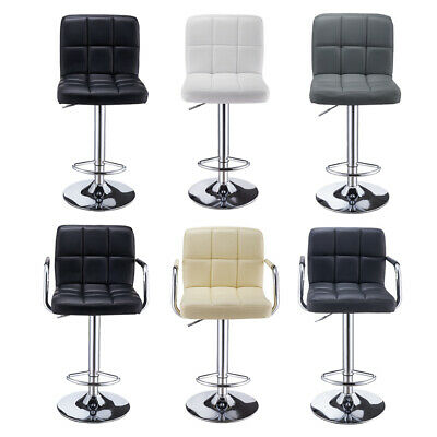 1/2pcs Faux Leather Bar Stools Breakfast Kitchen Chair Chrome Swivel Bar Stools