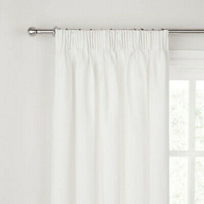 948692f334ac JOHN LEWIS Pencil Pleat Lined COTTON RIB WHITE CURTAINS 167 x 182 cm RRP£120