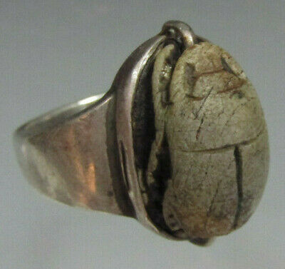 Egypt Egyptian Steatite Scarab Late Period mounted as a Modern Silver ring