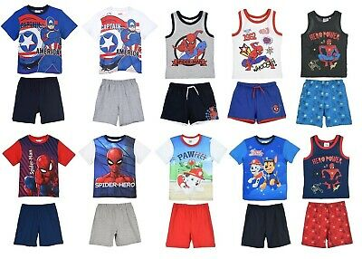 Kids Boys Girls Nickelodeon Paw Patrol & Spiderman Pyjama Shorts Sets Ages 3-8