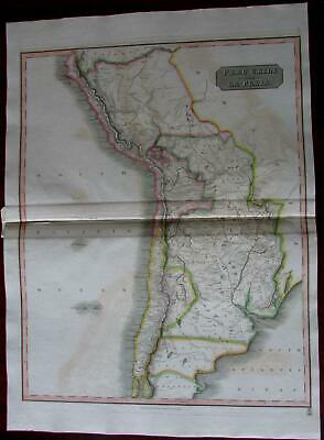 Peru Chili Chile Patagonia regional map of South America 1816 Thomson large map