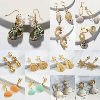 2019 Fashion Boho Women's Natural Starfish Seashell Earring Statement Jewelry
