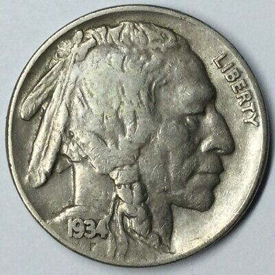 1934 5C Buffalo Nickel XF+ Uncertified #