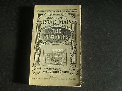 Rare Geographia Road Map of the Potteries 1923 Coloured Map on Cloth, Sheet No 8