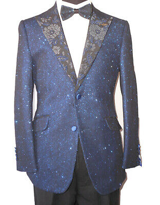 Mens Barabas 7001 Mens Fitted Captain's Dinner Jacket Sparkling Royal Navy Blue