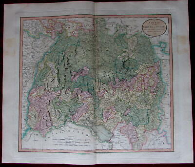 Swabia Southern Germany Wurtemberg 1799 by John Cary large detailed map