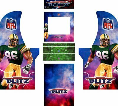 Arcade1up Arcade Cabinet Graphic Decal Complete Kits - NFL Blitz