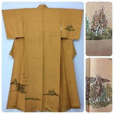 Japanese women's kimono, yellow gold, medium, silk, trees, Japan import (AE2515)
