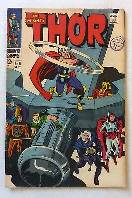 The Mighty Thor 156 Marvel Comics Silver Age 1968 FN+/VFN- Mangog Lady Sif