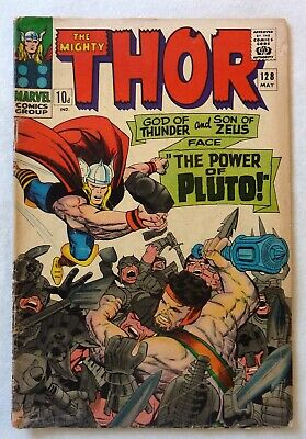 The Mighty Thor 128 Marvel Comics Silver Age 1966 VG Condition Pluto Hercules