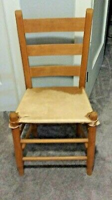 Antique late 1800s Rustic Ladder back Cowhide Chair