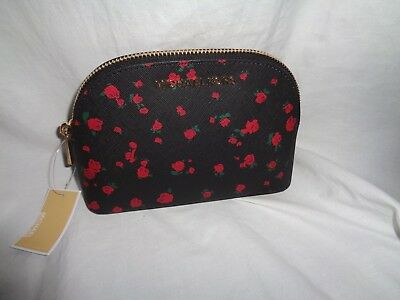 2da42c589d28 Michael Kors Jet Set Travel Large Pouch Cosmetic Case Makeup Black Red  Floral