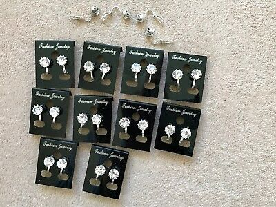 JOBLOT-10 pairs of 0.8cm crystal CLIP ON diamante earrings.Silver plated.UK made