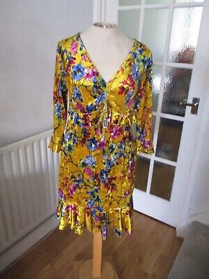 Pretty Hurts Gold Yellow Oriental Floral Stretch Velour Frill Party Dress 16 New