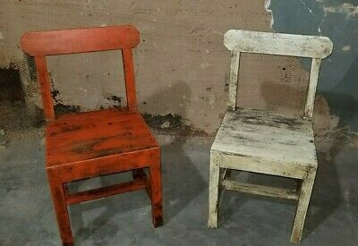 Pair of Antique Distressed Kids Chairs Children size set