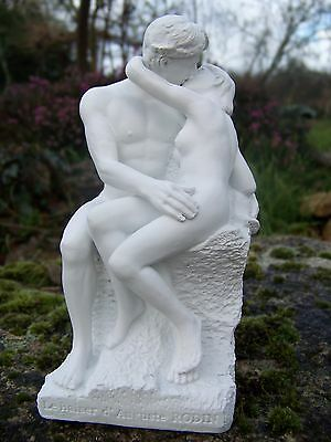 Re0006 §   Figurine Sculpture Blanche  Reproduction Le  Baiser  Auguste  Rodin