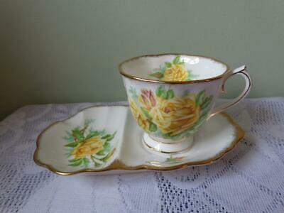 Royal Albert Bone China Yellow Tea Rose Cup & Biscuit/Ashtray Tray