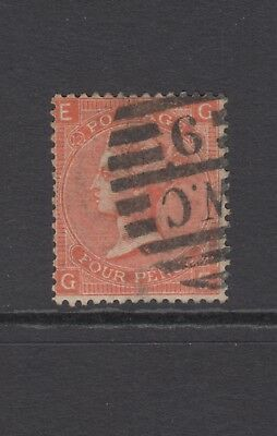 """GB QV 4d Vermilion SG94 Plate 12 """"GE"""" Four Pence Used Stamp"""