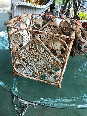 Vintage Cozy Cottage/Shabby Chic Wroght-Iron Basket/Aged Rust/Chippy White Paint