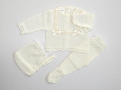 Baby Knit Set Light Beige. Newborn. Size 0 Month. Made in Spain.
