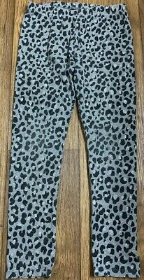Childrens Place Girls Black & Silver Glitter Leopard Print Leggings Medium (7/8)