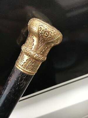 ANTIQUE CANE Gold filled Walking STICK ORNATE LARGE HANDLE Unusual Top