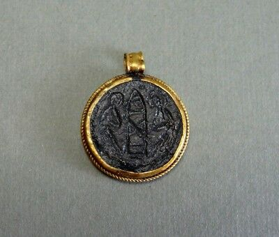 Ancient Gold & Bronze Pendant 2 Angels & Church Image Byzantine 400-600 Ad