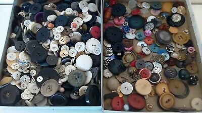 Vintage Button Collection Unsearched Estate Lot IN Old Box As Found 2+ lbs FUN!