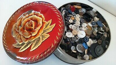 Vintage Button Collection Unsearched Estate Lot In tin~ As Found 3+ lbs FUN!