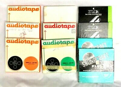 """Lot of 10 3M Audiotape Reel To Reel Tapes 7"""" Pre-recorded Used 4-Track"""
