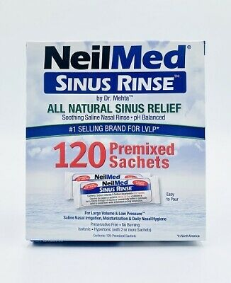 New Neilmed Sinus Rinse 120 Premixed Sachets Natural Relief Hayfever Irritation