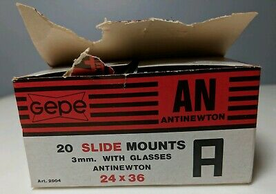Gepe 20 Slide Mounts 3mm With Glasses Antiewton 24 x 36 NOS New Old Stock #2