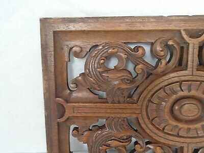 ANTIQUE Victorian HAND CARVED WOODEN DOLPHIN PANEL plaque wall art rustic crafts