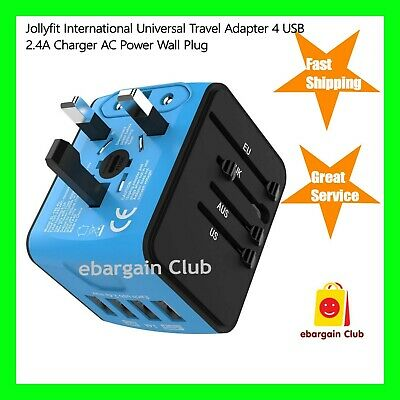JOLLYFIT International Universal Travel Adapter 4 USB 2.4A Charger AC Power Blue