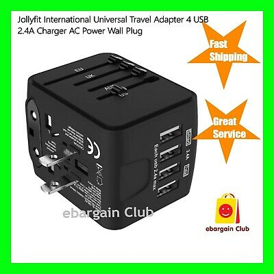 JOLLYFIT International Universal Travel Adapter 4 USB 2.4A Charger AC Power eBC