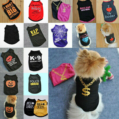 Small Dog Cat Puppy Vest T-Shirt Coat Summer Apparel Costumes Black Pet Clothes