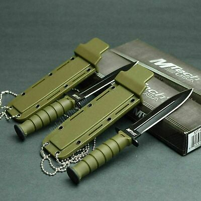 Lot Of 2 MTECH Kabai 440 Stainless Fixed Blade Neck Knives Knife OD Green 632DGN