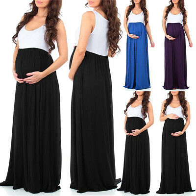 Summer Women's Pregnant Maternity Sleeveless Maxi Dress Casual Baby Shower Party